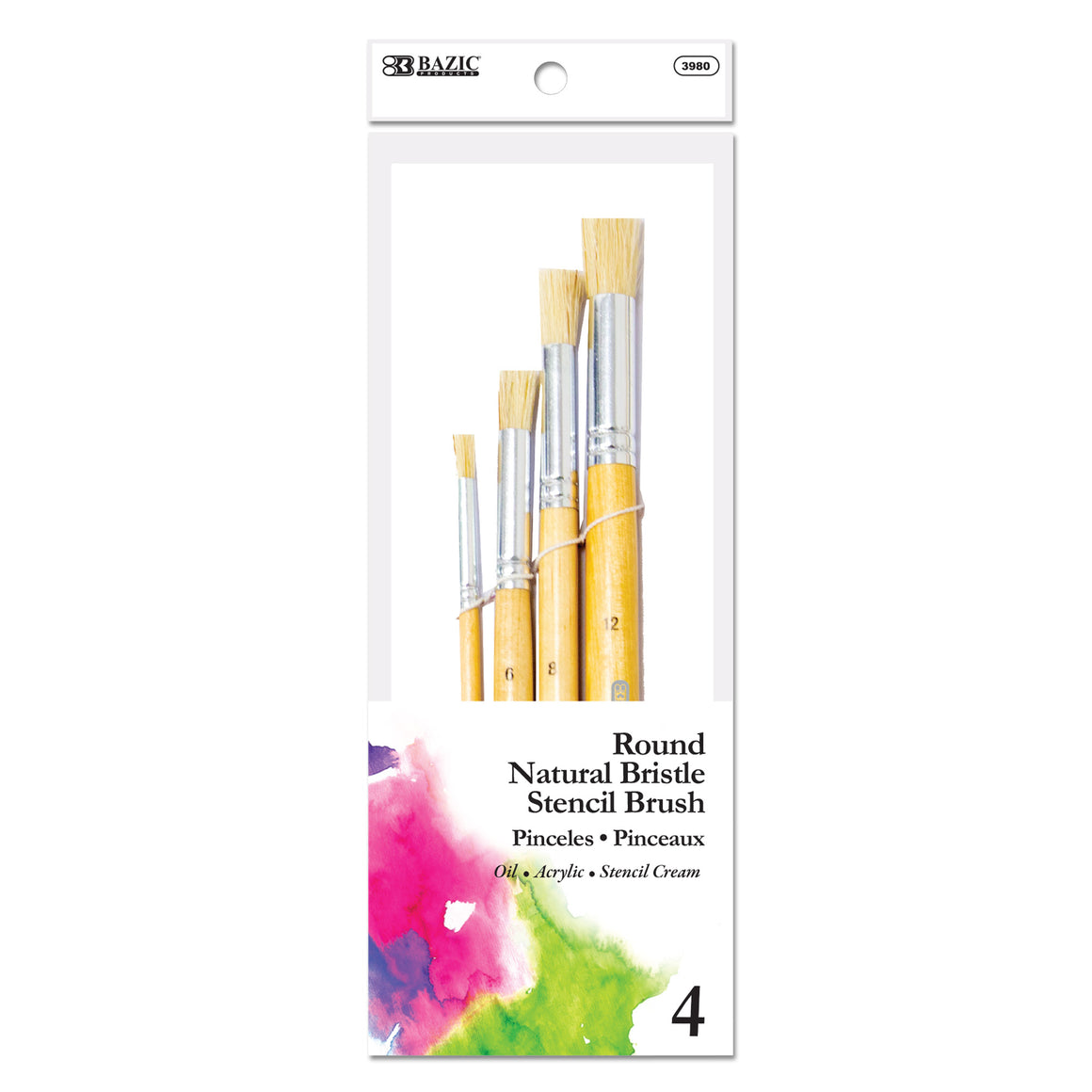 Round Natural Bristle Stencil Brush (4/Pack) - Bazicstore