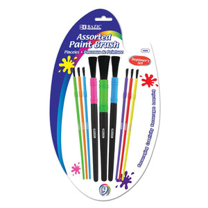 Assorted Size Kid's Paint Brush Set (9/Pack)