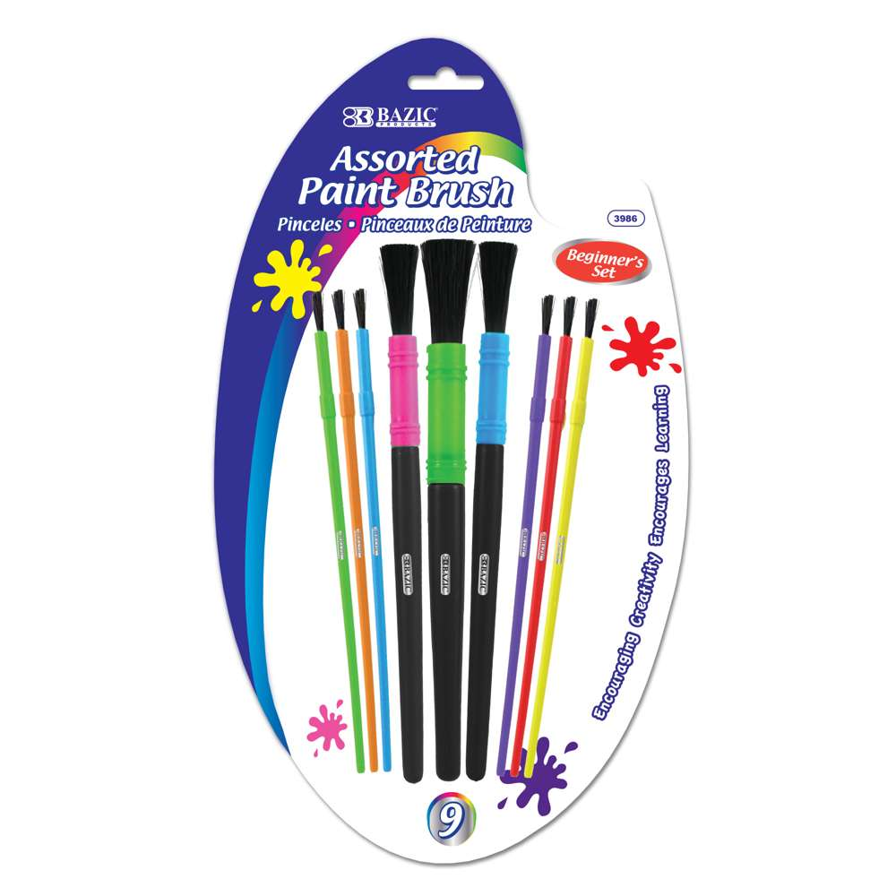 Assorted Size Kid's Paint Brush Set (9/Pack) - Bazicstore