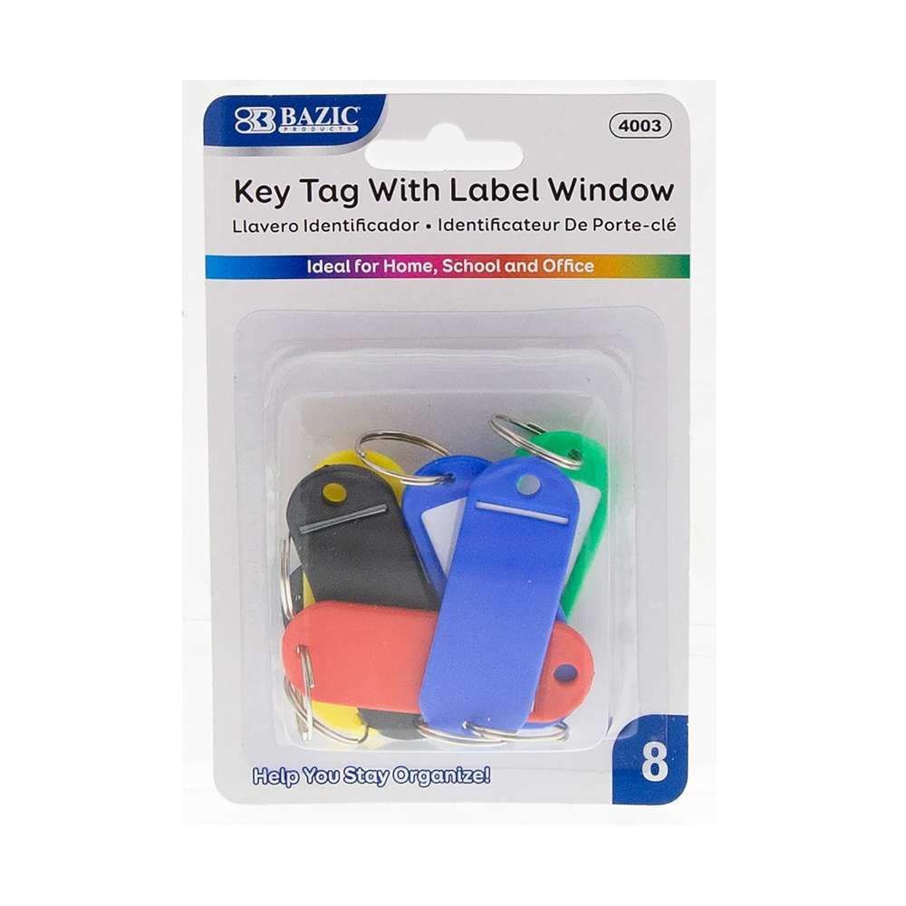 Key Tag with Label Window (8/Pack) - Bazicstore