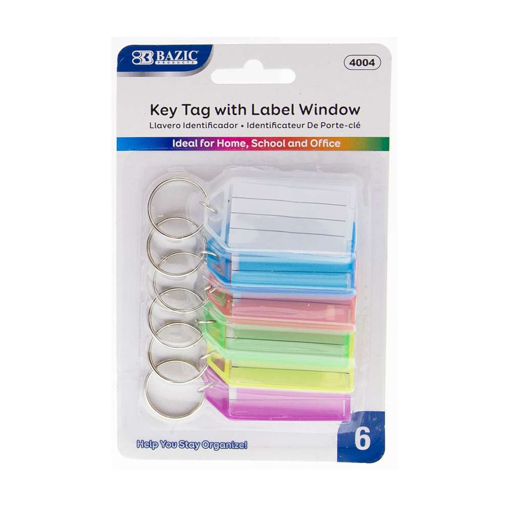 Key Tags with Holder & Label Window (6/Pack) - Bazicstore
