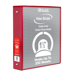 "1.5"" Red 3-Ring View Binder w/2-Pockets"