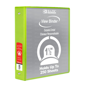 "1.5"" Lime Green 3-Ring View Binder w/ 2-Pockets - Bazicstore"