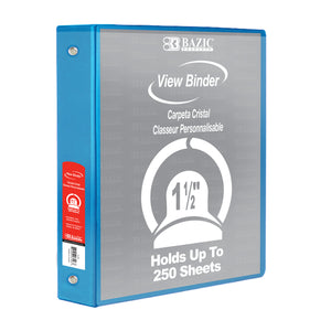 "1.5"" Cyan 3-Ring View Binder w/ 2-Pockets - Bazicstore"