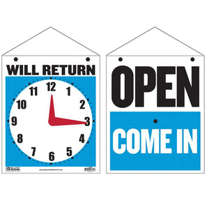 "7.5"" X 9"" ""WILL RETURN"" Clock Sign w/ ""OPEN"" sign on back - Bazicstore"