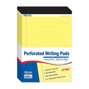 "50 Ct. 8.5"" X 11.75"" Canary Perforated Writing Pad (12/Pack) - Bazicstore"