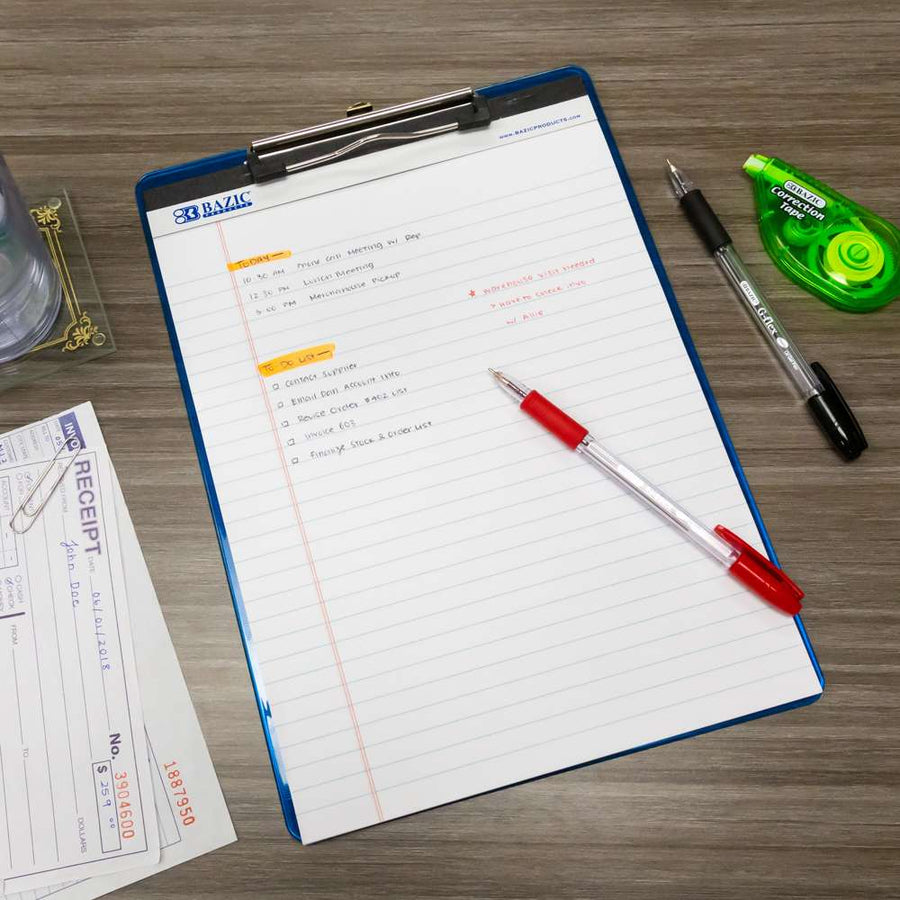 "50 Ct. 8.5"" X 11.75"" White Perforated Writing Pad (12/Pack) - Bazicstore"