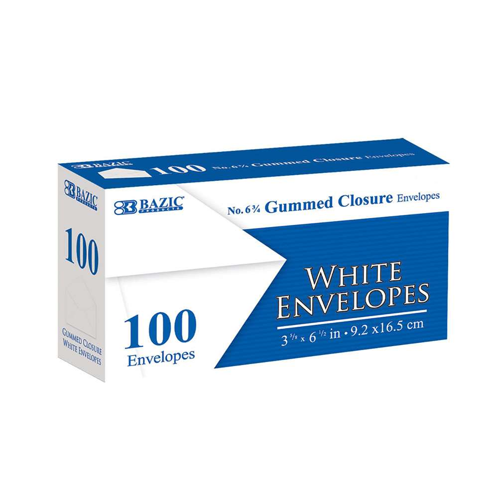 #6 3/4 White Envelope w/ Gummed Closure (100/Pack) - Bazicstore