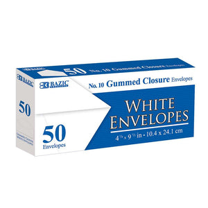 #10 White Envelope w/ Gummed Closure (50/Pack) - Bazicstore