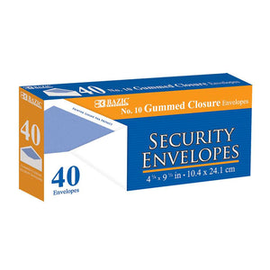 #10 Security Envelope w/ Gummed Closure (40/Pack) - Bazicstore