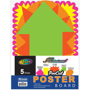 Fluorescent Pre-Cut Poster Board Shapes (5/pack) - Bazicstore