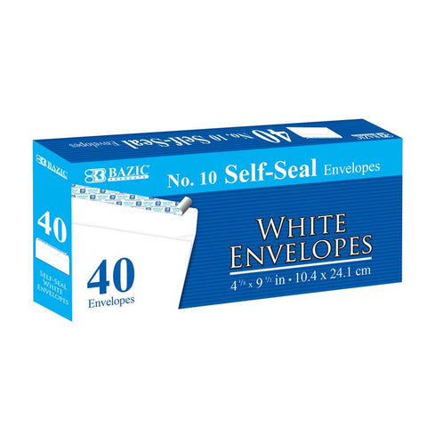 BAZIC #10 Self-Seal White Envelope (40/Pack)