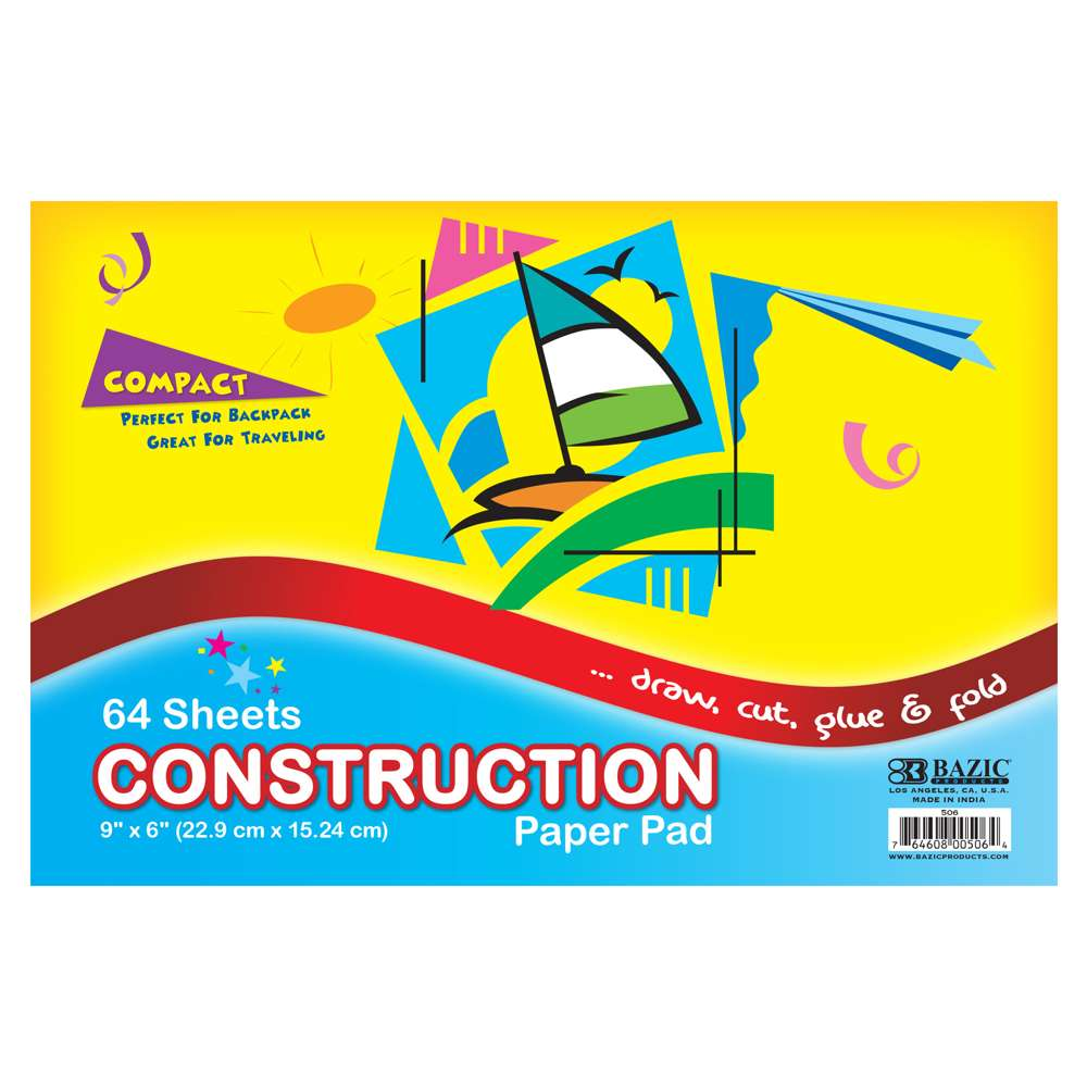 "64 Ct. 6"" X 9"" Mini Construction Paper Pad - Bazicstore"