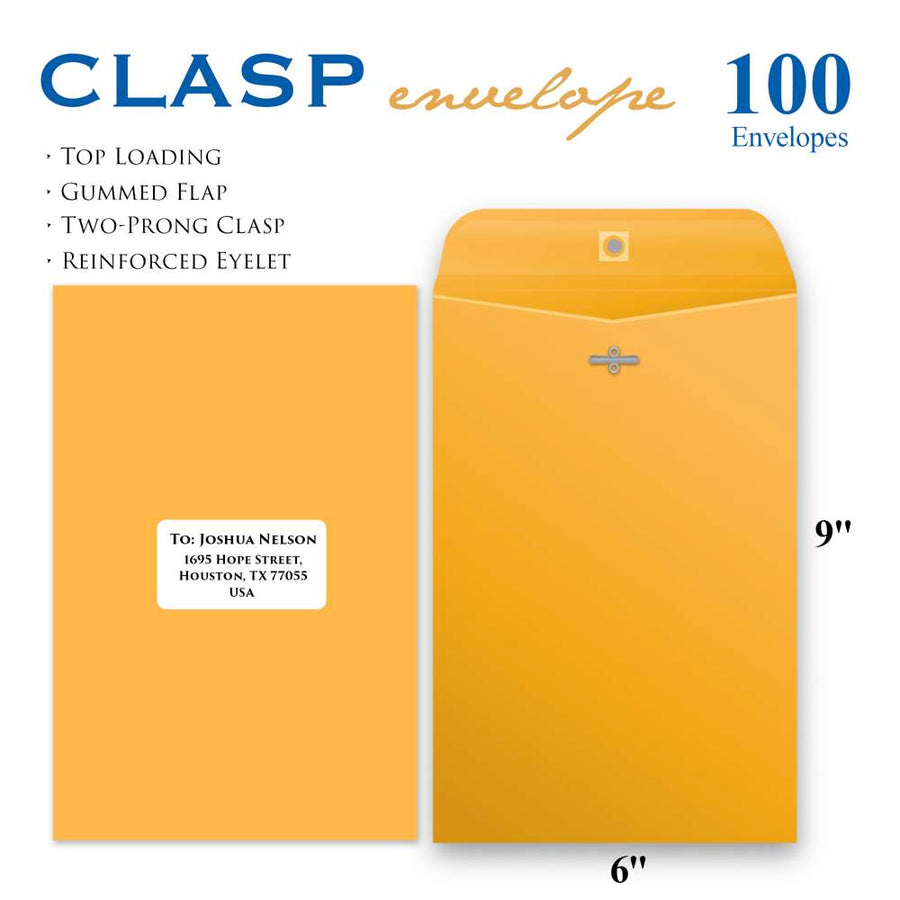 "6"" X 9"" Clasp Envelope (100/Pack)"