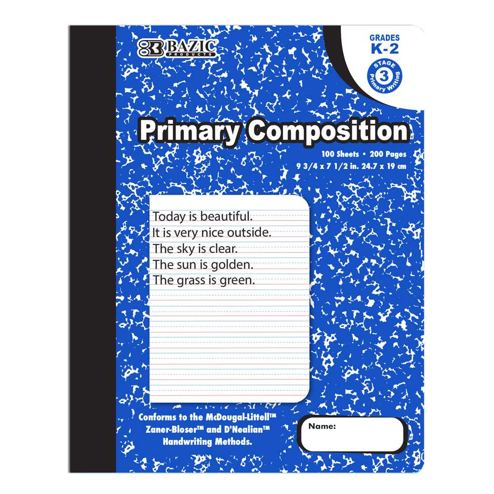 100 Ct. Primary Marble Composition Book - Bazicstore