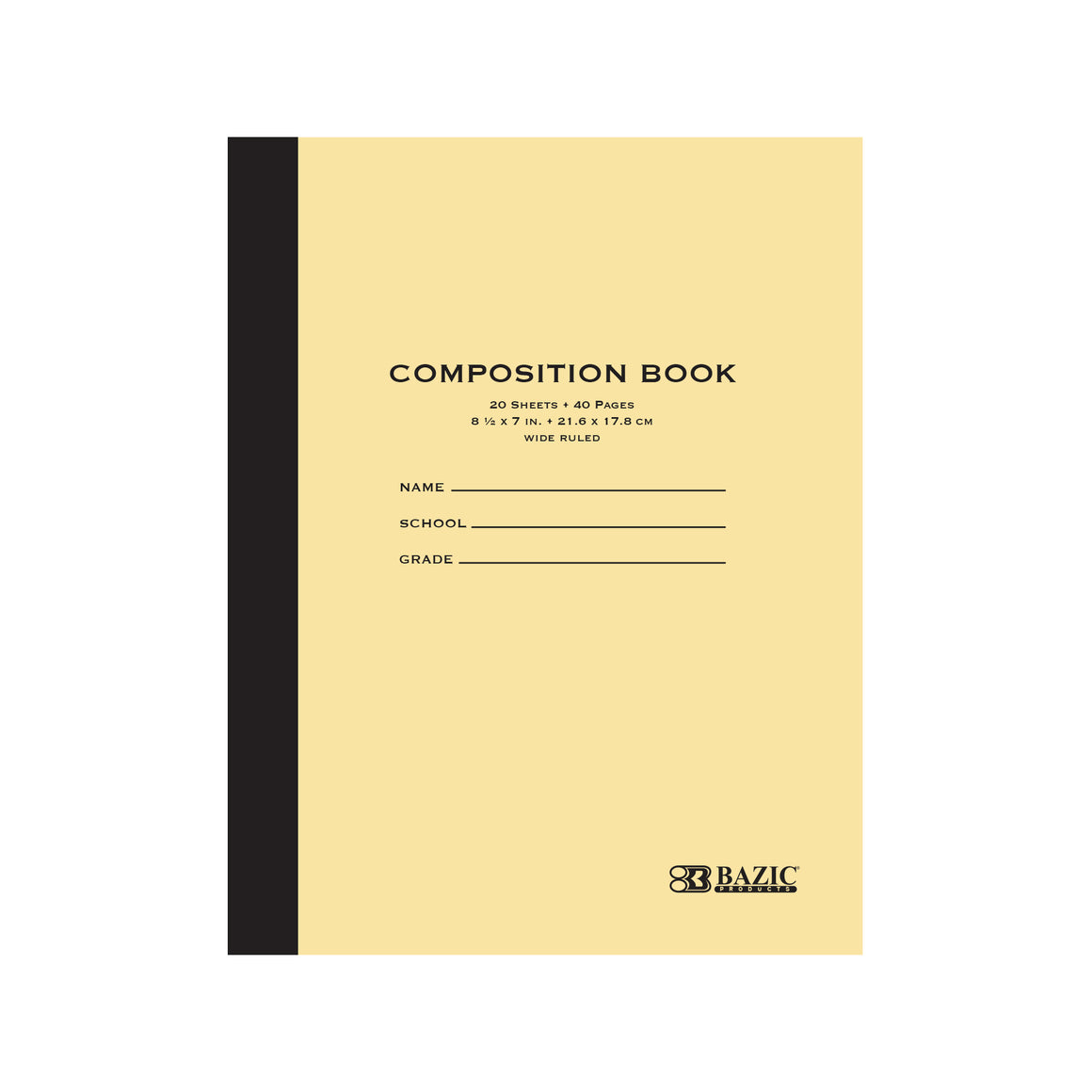 "20 ct. 8.5"" x 7"" Manila Cover Composition Book"