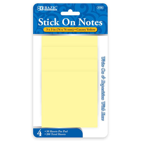 "BAZIC 50 Ct. 3"" X 3"" Yellow Stick On Notes (4/Pack)"