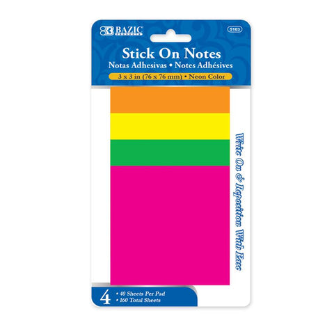 "BAZIC 40 Ct. 3"" X 3"" Neon Stick On Notes (4/Pack)"
