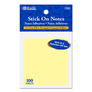 "100 Ct. 3"" X 3"" Yellow Stick On Notes - Bazicstore"
