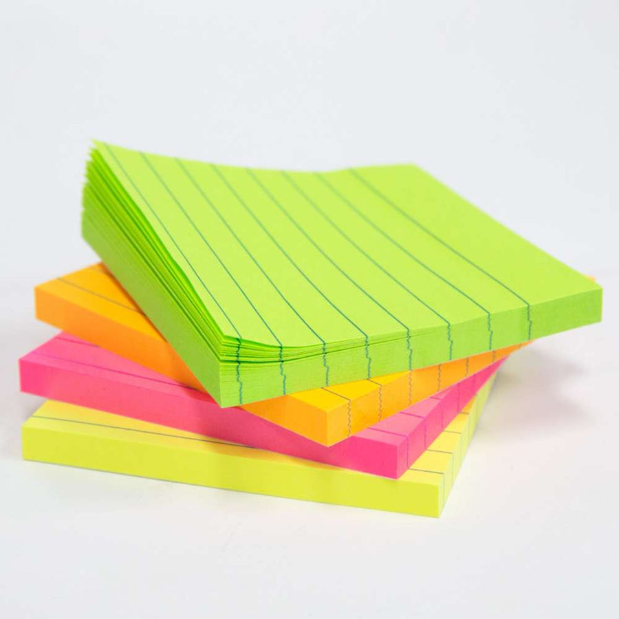 "70 Ct. 3"" X 3"" Neon Lined Stick On Notes - Bazicstore"