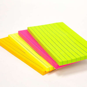 "70 Ct. 3"" X 5"" Neon Lined Stick On Notes"