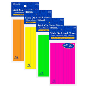 "70 Ct. 3"" X 5"" Neon Lined Stick On Notes - Bazicstore"