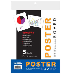 "11"" X 14"" White Poster Board (5/Pack)"
