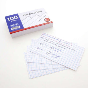 "100 Ct. 3"" X 5"" Quad Ruled 4-1"" White Index Card - Bazicstore"