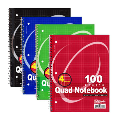 "100 Ct. Quad-Ruled 4-1"" Spiral Notebook"