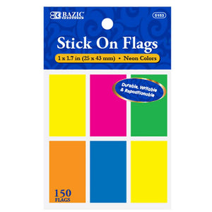 "25 Ct. 1"" X 1.7"" Neon Color Standard Flags (6/Pack) - Bazicstore"