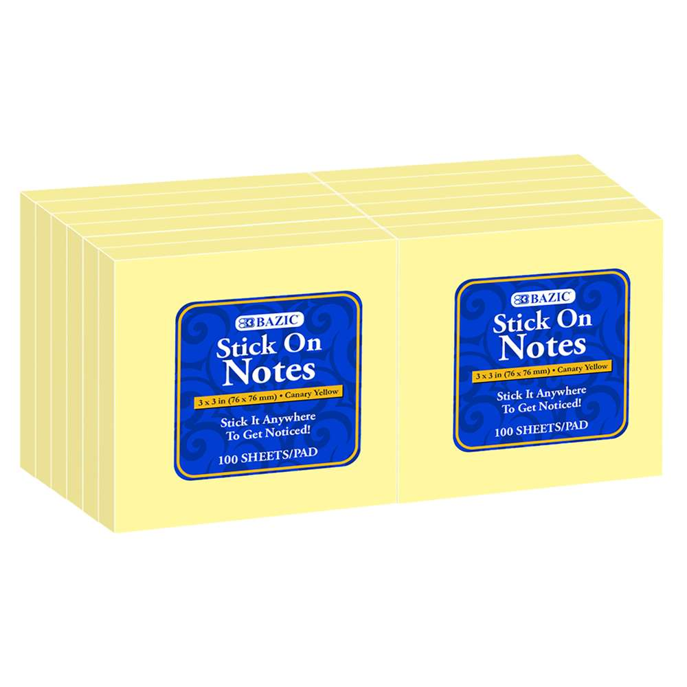 "100 Ct. 3"" X 3"" Yellow Stick On Notes (12/Shrink) - Bazicstore"