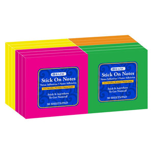 "90 Ct. 3"" X 3"" Neon Stick On Notes (12/Shrink) - Bazicstore"