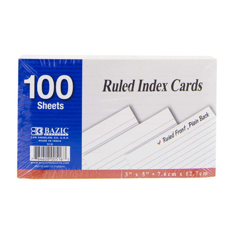 "BAZIC 100 Ct. 3"" X 5"" Ruled White Index Card"