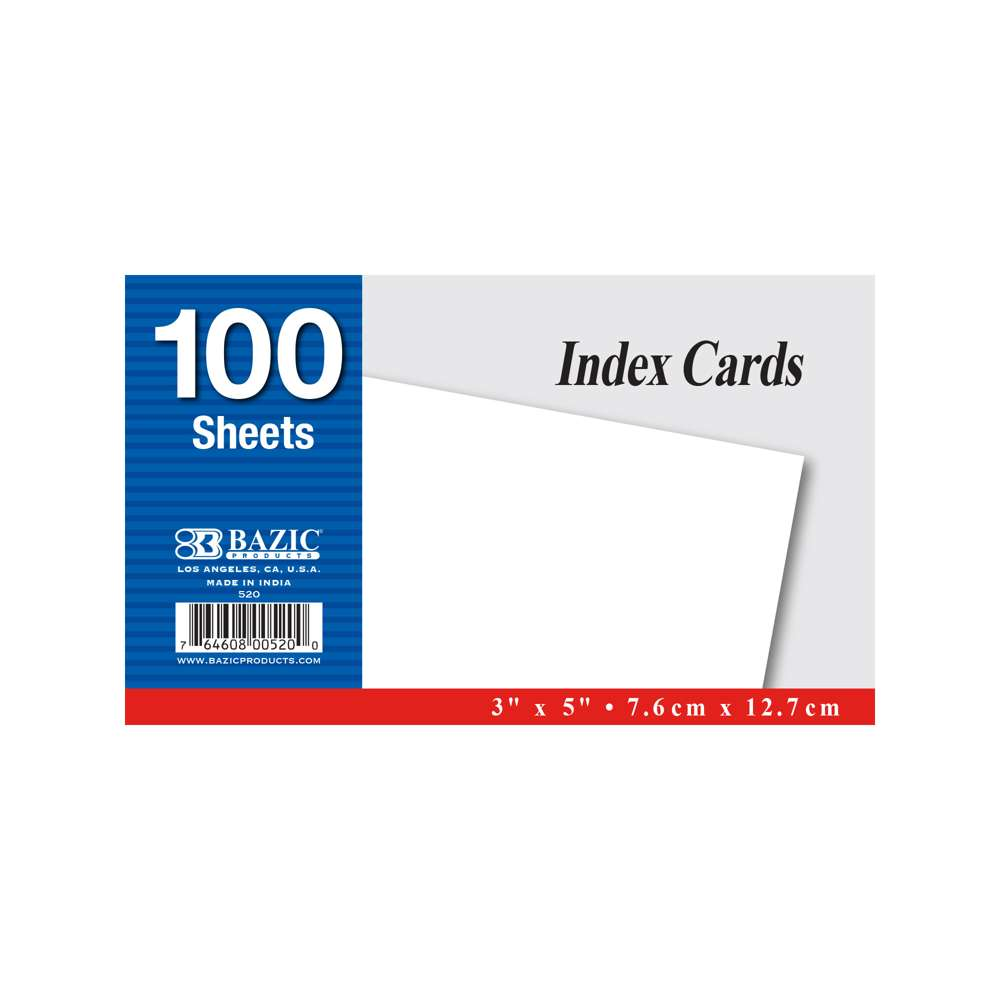"100 Ct. 3"" X 5"" Unruled White Index Card - Bazicstore"