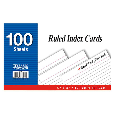 "BAZIC 100 Ct. 5"" X 8"" Ruled White Index Card"