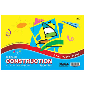 "16 Ct. 18"" X 12"" Construction Paper Pad - Bazicstore"