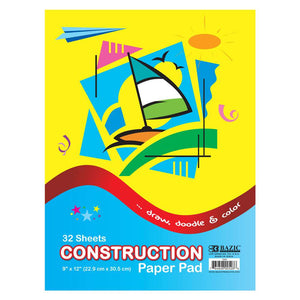 "32 Ct. 9"" X 12"" Construction Paper Pad - Bazicstore"
