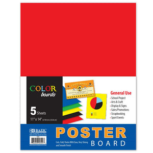 "11"" X 14"" Multi Color Poster Board (5/Pack) - Bazicstore"