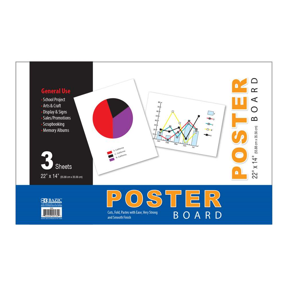 "22"" X 14"" White Poster Board (5/Pack)"