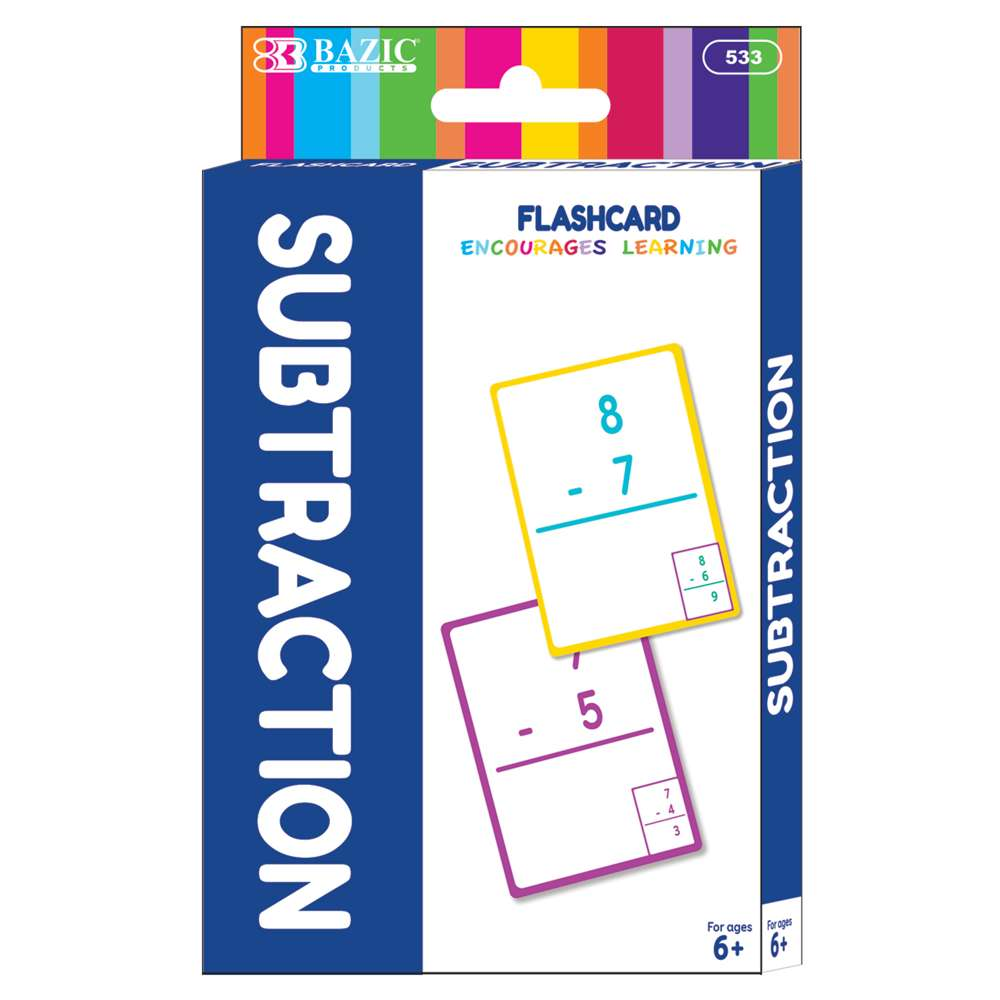 Subtraction Flash Cards (36/Pack) - Bazicstore