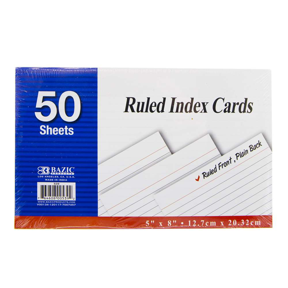 "BAZIC 50 Ct. 5"" X 8"" Ruled White Index Card"