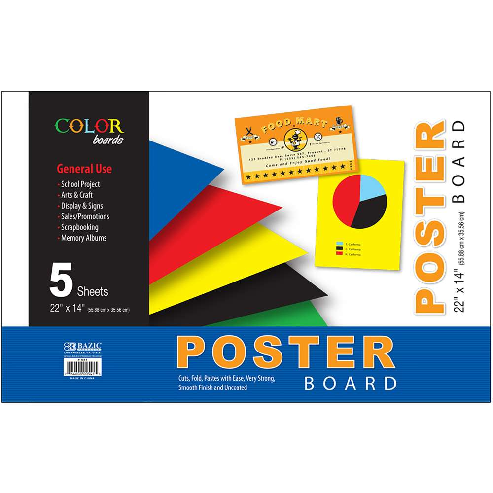 "22"" X 14"" Assorted Color Poster Board (5/Pack) - Bazicstore"