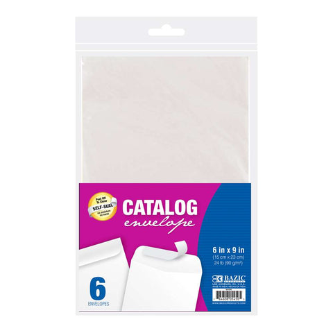 "BAZIC 6"" x 9"" Self-Seal White Catalog Envelope (6/Pack)"