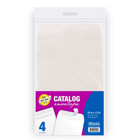 "BAZIC 10"" x 13"" Self-Seal White Catalog Envelope (4/Pack)"