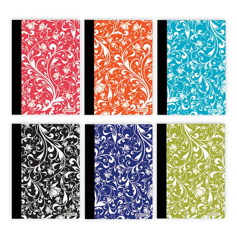 "80 Ct. 5"" x 7"" Floral Poly Cover Personal Composition Book"