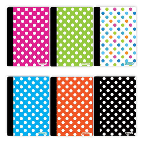 "80 Ct. 5"" x 7"" Polka Dot Poly Cover Personal Composition Book"