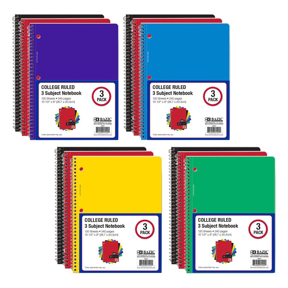 College Ruled 120 Sheets 3-Subject Spiral Notebook (3/Pack)