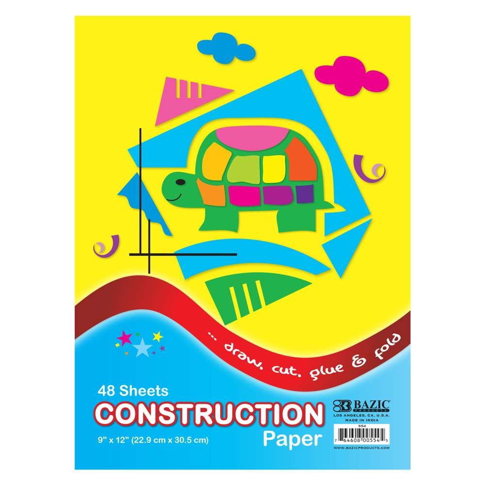 "48 Ct. 9"" X 12"" Construction Paper - Bazicstore"