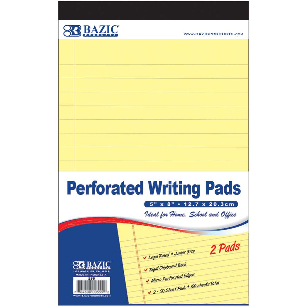 "50 Ct. 5"" X 8"" Canary Jr. Perforated Writing Pad (2/Pack) - Bazicstore"