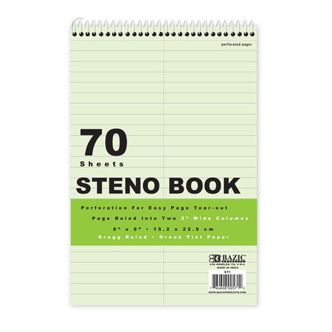 "BAZIC 80 Ct. 6"" X 9"" Green Tint Gregg Ruled Steno Book"